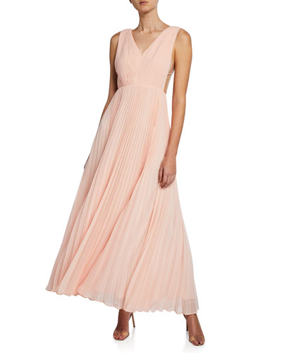 V-Neck Multi-Strap Pleated Gown