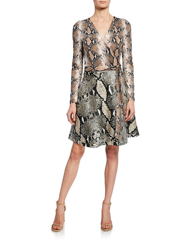 Amelia Python Long-Sleeve Wrap Dress