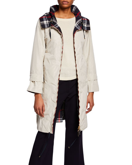 Max Mara The Cube Reversible Check Raincoat w/ Hood