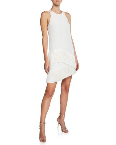 Scala Sleeveless Asymmetric Mini Fringe Dress