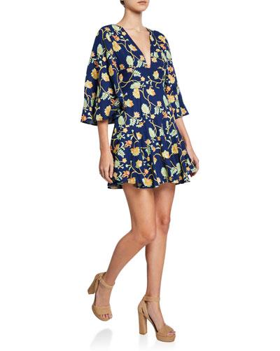 Camilla Floral-Embroidered Kimono-Sleeve Mini Dress