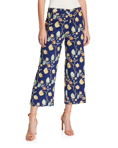 Malaga Floral-Embroidered Crop Pants