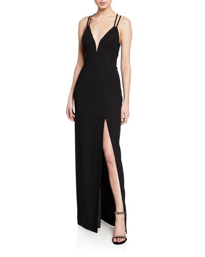 V-Neck Strappy-Back Crepe Gown