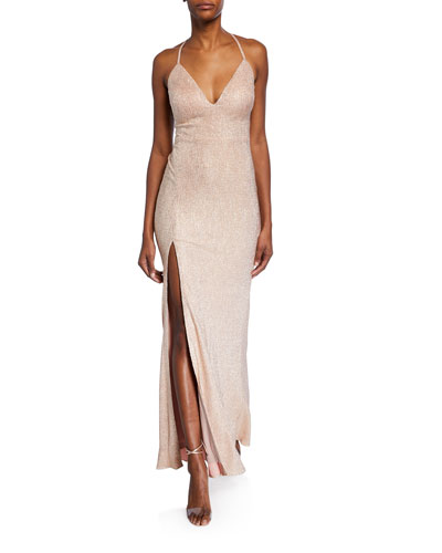 Foiled-Knit Halter Gown with Strappy Back