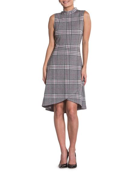 Neiman Marcus Dresses ALYSSA PLAID SLEEVELESS ASYMMETRIC SHIFT DRESS