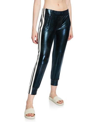Side-Stripe Metallic Jogger Pants