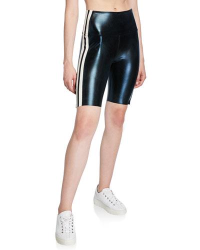 Side-Stripe Metallic Bermuda Shorts
