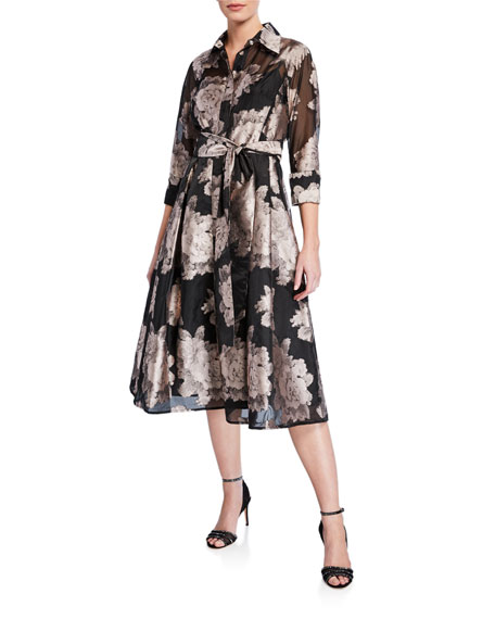 Rickie Freeman For Teri Jon Dresses FLORAL BURNOUT JACQUARD ORGANZA SHIRTDRESS
