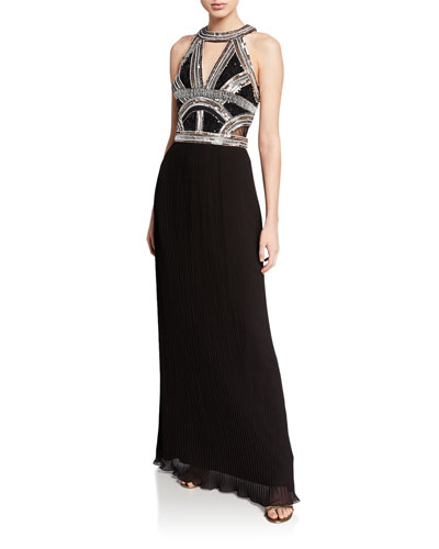 Beaded-Bodice Halter Gown w/ Pleated Georgette Skirt