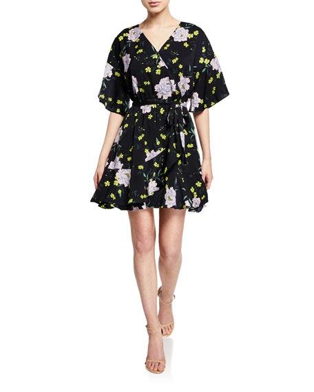 Cupcakes And Cashmere Dresses LOCKE FLORAL-PRINT WRAP DRESS