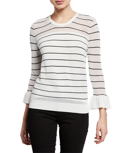 Liana Striped 3/4-Sleeve Open-Knit Sweater