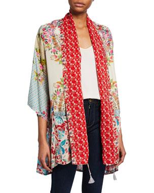 fe986077afa Johnny Was Plus Size Jade Mixed Floral-Print 3 4-Sleeve Silk Twill