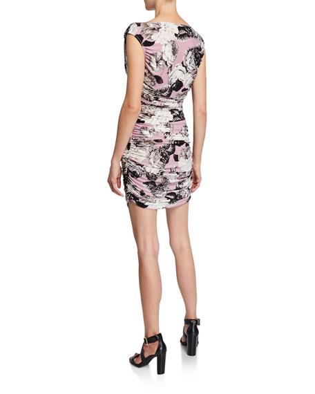 Norma Kamali Tara Floral V-Neck Sleeveless Mini Shirred Dress