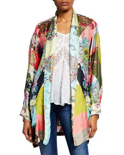 Plus Size Flower Block Long-Sleeve Silk Kimono Robe