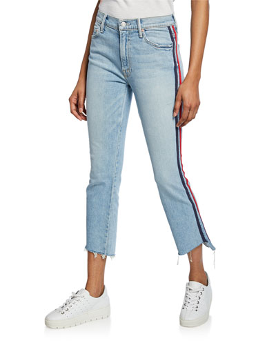The Inside Crop Step Fray with Racer Stripes