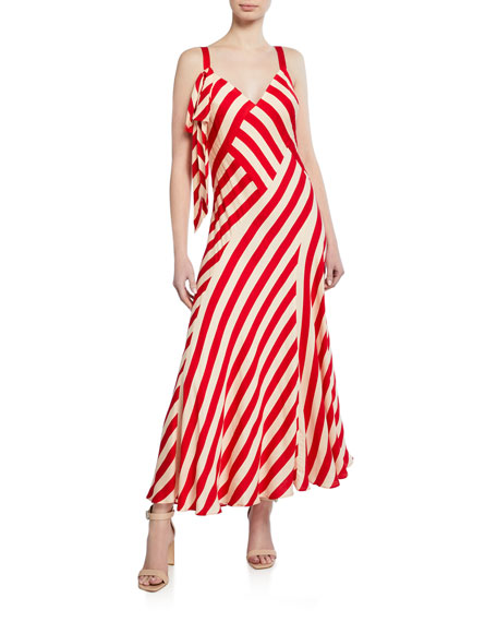 Jill Jill Stuart Dresses STRIPED SLEEVELESS MAXI DRESS WITH TIE DETAIL