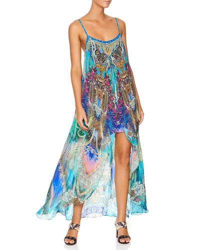 Printed Mini Dress w/ Long Overlay