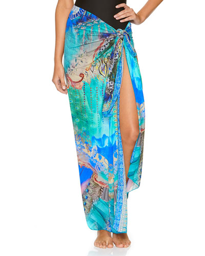 Printed Long Coverup Sarong