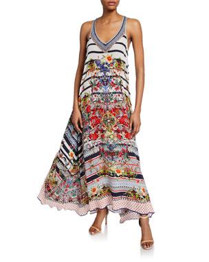 85aec01a115b2 Camilla Mixed-Print V-Neck Racerback Silk Maxi Dress