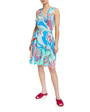 a4c7bbaa00 Emilio Pucci Printed Sleeveless Coverup Wrap Dress