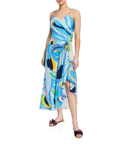 Ruched High-Low Printed Coverup Dress