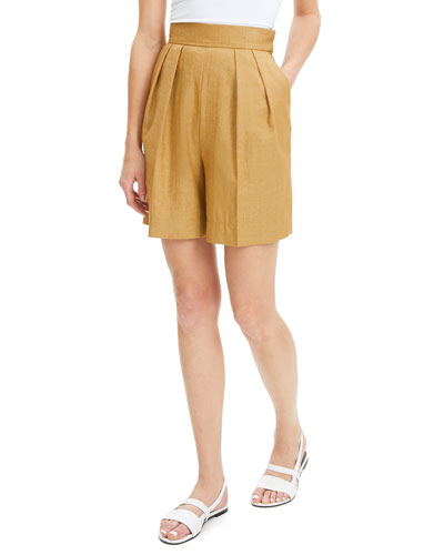 High-Rise Pleated Luxe Linen Shorts