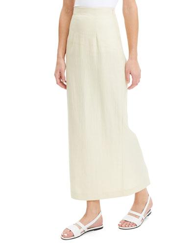 Long Linen Pencil Skirt