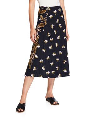 5762a12346fc1 Vince Mixed Tropical Garden A-Line Midi Skirt