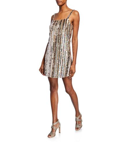 Nava Sequin-Stripe Sleeveless Mini Shift Dress