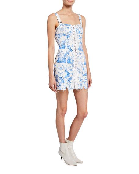 For Love & Lemons Dresses MONIKA HOOK FRONT PRINTED MINI DENIM DRESS