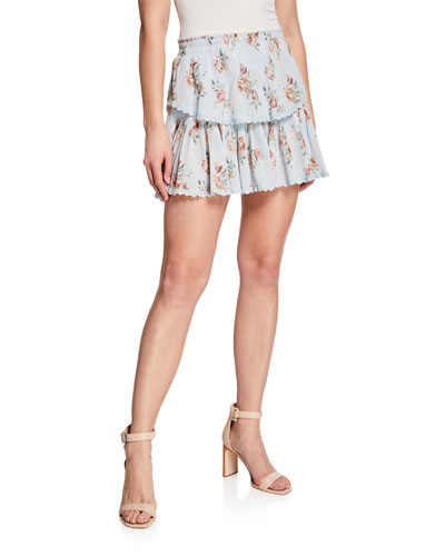 Floral Ruffle Tiered Mini Skirt
