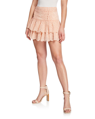 Amy Ruffle Eyelet Cotton-Blend Tiered Mini Skirt