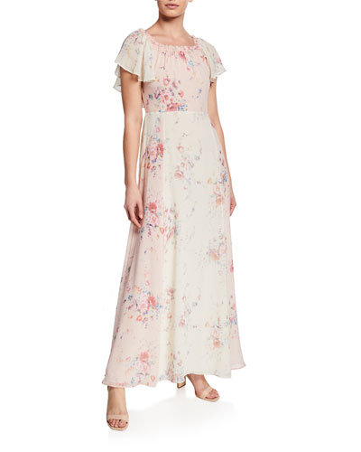 Evelyn Silk Faded Floral Off-the-Shoulder Dress