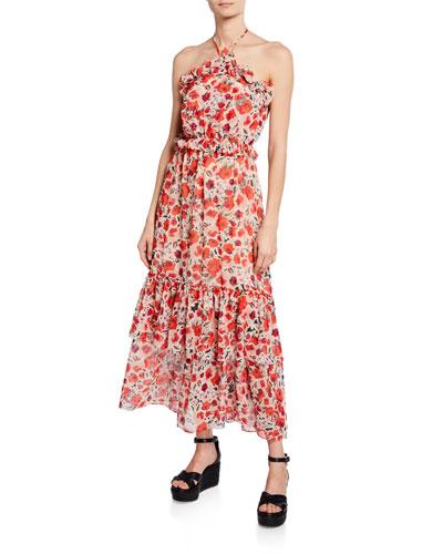 Gia Floral Chiffon Halter Maxi Dress