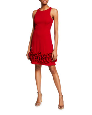 Aidan Mattox Sleeveless Crepe Cocktail Dress with Ruffle Trim 04d75723c6d9