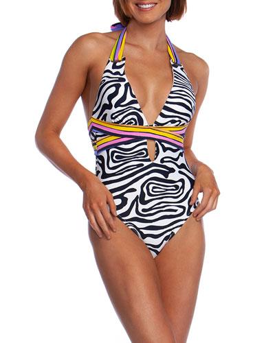 Zebra-Print Halter One-Piece Swimsuit