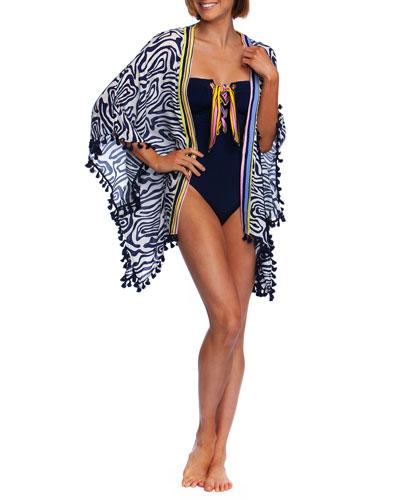 Zebra-Print Coverup Kimono with Tassels