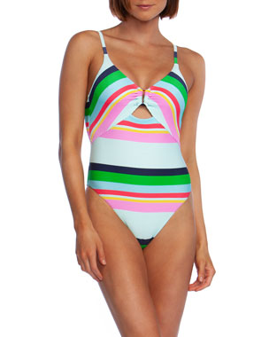 faf9278733 Trina Turk Deco Stripe High-Cut One-Piece Swimsuit