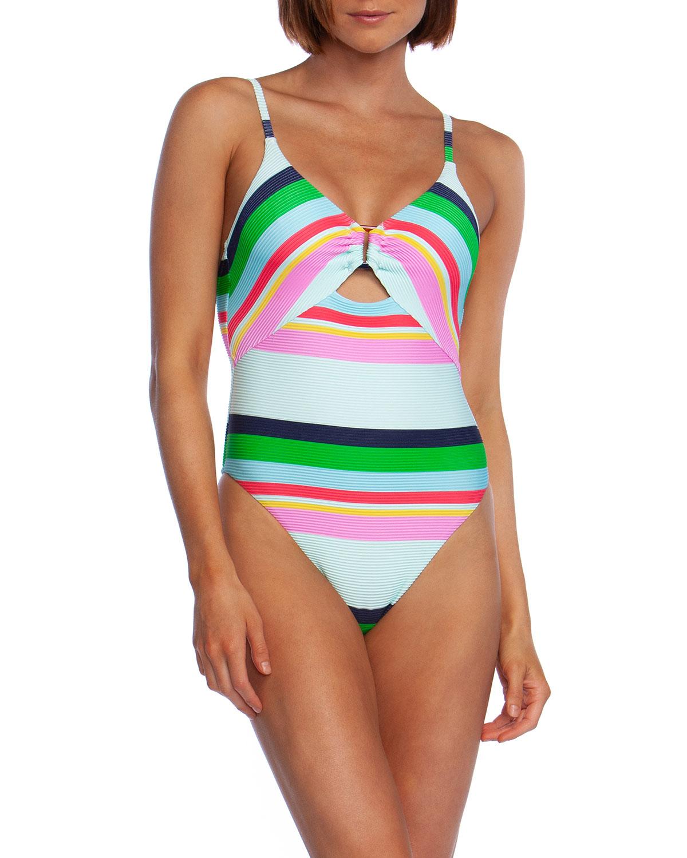 0a49953d0a Trina Turk Deco Stripe High-Cut One-Piece Swimsuit