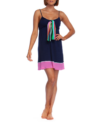 Deco Stripe Coverup Dress with Scarf