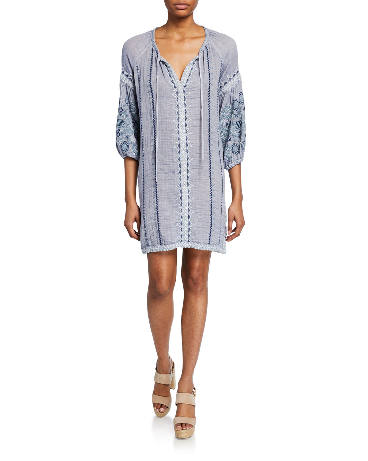 Johnny Was Plus Size Simonee Embroidered 3/4-Sleeve Peasant Dress ...