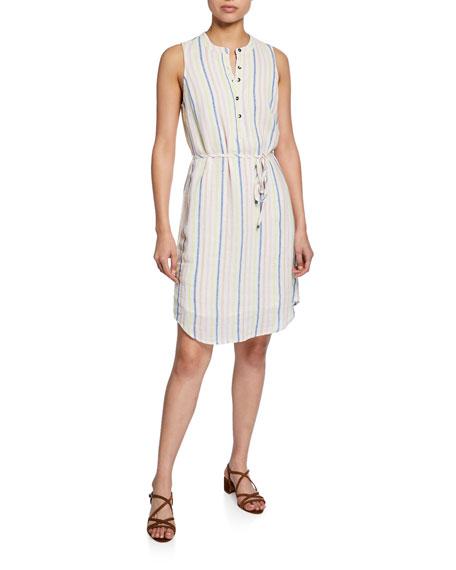 Splendid Dresses STRIPED BUTTON-FRONT SLEEVELESS DRESS
