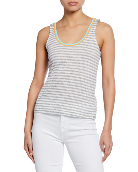 Splendid Tops SEASIDE STRIPE SCOOP-NECK COTTON TANK TOP