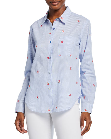 Splendid T-shirts NANTUCKET STRIPED BUTTON-DOWN SHIRT WITH EMBROIDERED DETAILS