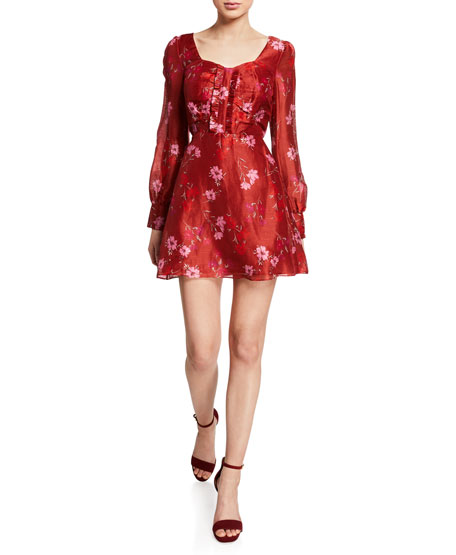 La Maison Talulah Dahlia Floral-Print Long-Sleeve Mini Dress