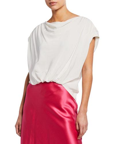 Adriana Silk Cap-Sleeve Ruched Top