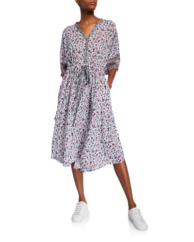 Seaton Printed High-Low Midi Dress