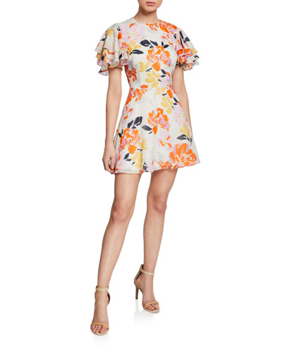 Effervescent Floral-Print Tiered-Sleeve Mini Fit-and-Flare Dress