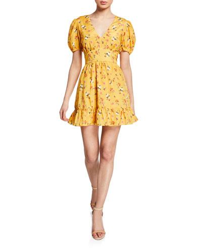 Tansy Floral-Print Puff-Sleeve Ruffle-Hem Mini Dress