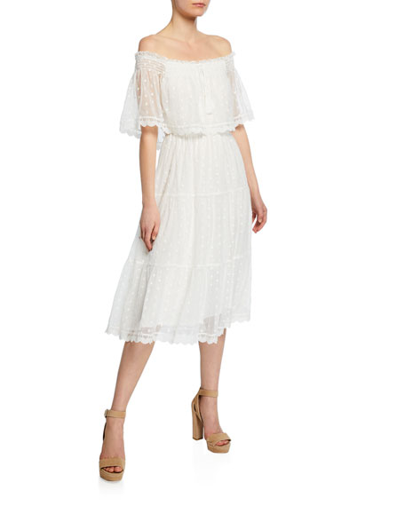 Cupcakes And Cashmere Dresses CONTESSA OFF-THE-SHOULDER SCALLOPED DRESS